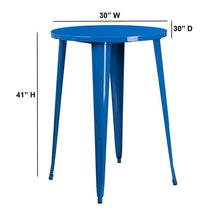 Load image into Gallery viewer, 30'' Round Blue Metal Indoor-Outdoor Bar Height Table