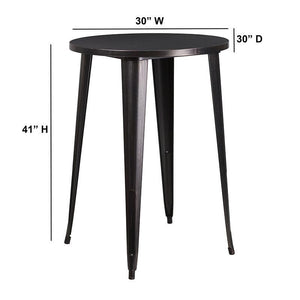 30'' Round Black-Antique Gold Metal Indoor-Outdoor Bar Height Table