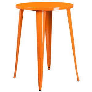 30'' Round Orange Metal Indoor-Outdoor Bar Height Table
