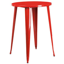Load image into Gallery viewer, 30'' Round Red Metal Indoor-Outdoor Bar Height Table
