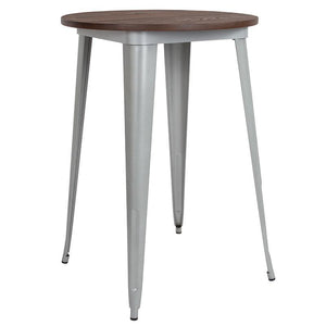 "30"" Round Silver Metal Indoor Bar Height Table with Walnut Rustic Wood Top"