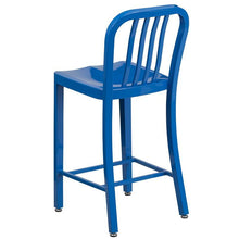 Load image into Gallery viewer, 24'' High Blue Metal Indoor-Outdoor Counter Height Stool with Vertical Slat Back