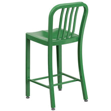 Load image into Gallery viewer, 24'' High Green Metal Indoor-Outdoor Counter Height Stool with Vertical Slat Back