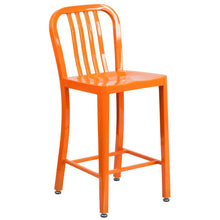 Load image into Gallery viewer, 24'' High Orange Metal Indoor-Outdoor Counter Height Stool with Vertical Slat Back