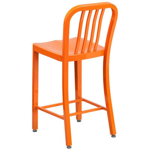 24'' High Orange Metal Indoor-Outdoor Counter Height Stool with Vertical Slat Back