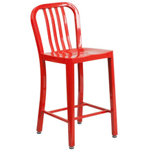Load image into Gallery viewer, 24'' High Red Metal Indoor-Outdoor Counter Height Stool with Vertical Slat Back