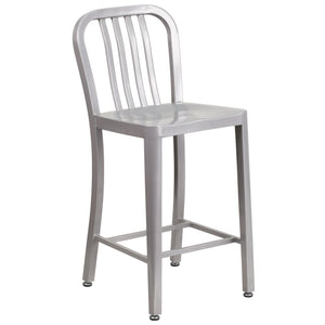 24'' High Silver Metal Indoor-Outdoor Counter Height Stool with Vertical Slat Back