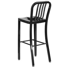 Load image into Gallery viewer, 30'' High Black Metal Indoor-Outdoor Barstool with Vertical Slat Back
