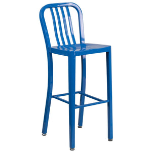 30'' High Blue Metal Indoor-Outdoor Barstool with Vertical Slat Back