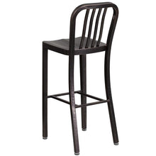 Load image into Gallery viewer, 30'' High Black-Antique Gold Metal Indoor-Outdoor Barstool with Vertical Slat Back
