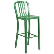 Load image into Gallery viewer, 30'' High Green Metal Indoor-Outdoor Barstool with Vertical Slat Back