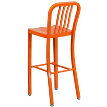 Load image into Gallery viewer, 30'' High Orange Metal Indoor-Outdoor Barstool with Vertical Slat Back