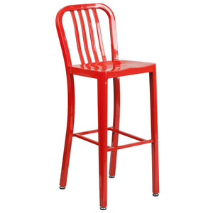 30'' High Red Metal Indoor-Outdoor Barstool with Vertical Slat Back