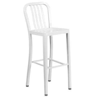 30'' High White Metal Indoor-Outdoor Barstool with Vertical Slat Back