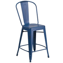 Load image into Gallery viewer, 24'' High Distressed Antique Blue Metal Indoor-Outdoor Counter Height Stool with Back