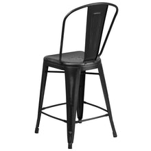 Load image into Gallery viewer, 24'' High Distressed Black Metal Indoor-Outdoor Counter Height Stool with Back