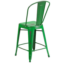 Load image into Gallery viewer, 24'' High Distressed Green Metal Indoor-Outdoor Counter Height Stool with Back