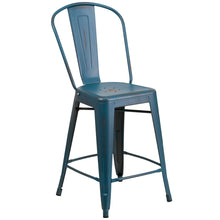 Load image into Gallery viewer, 24'' High Distressed Kelly Blue-Teal Metal Indoor-Outdoor Counter Height Stool with Back
