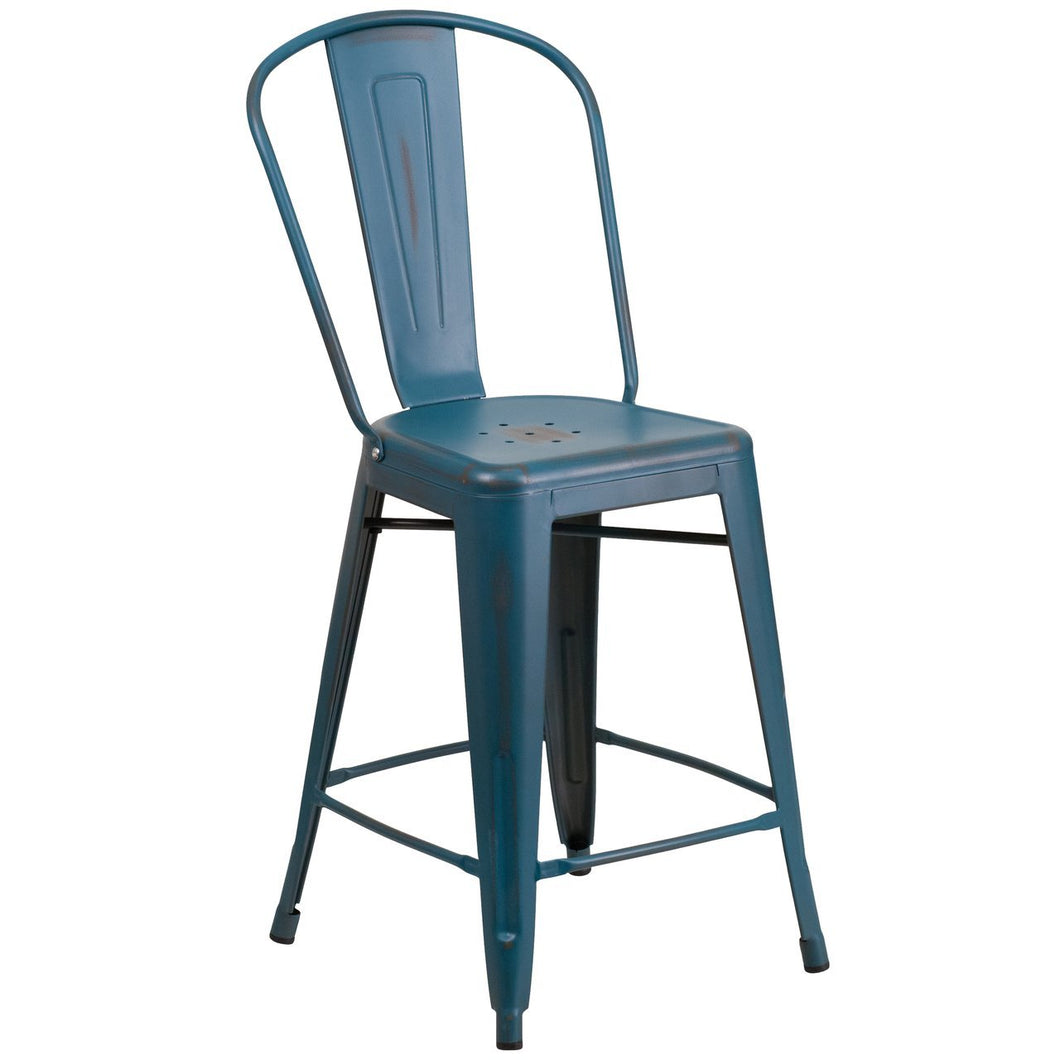 24'' High Distressed Kelly Blue-Teal Metal Indoor-Outdoor Counter Height Stool with Back