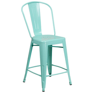 24'' High Mint Green Metal Indoor-Outdoor Counter Height Stool with Back