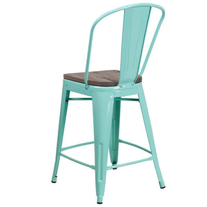 "24"" High Mint Green Metal Counter Height Stool with Back and Wood Seat"