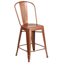Load image into Gallery viewer, 24'' High Copper Metal Indoor-Outdoor Counter Height Stool with Back