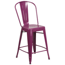 Load image into Gallery viewer, 24'' High Purple Metal Indoor-Outdoor Counter Height Stool with Back