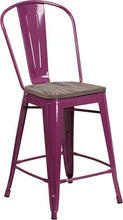 "Load image into Gallery viewer, 24"" High Purple Metal Counter Height Stool with Back and Wood Seat"