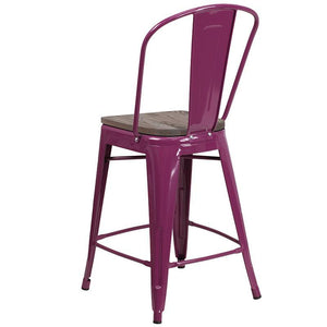 "24"" High Purple Metal Counter Height Stool with Back and Wood Seat"