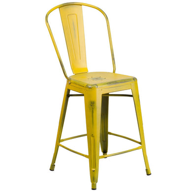 24'' High Distressed Yellow Metal Indoor-Outdoor Counter Height Stool with Back