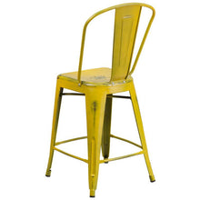 Load image into Gallery viewer, 24'' High Distressed Yellow Metal Indoor-Outdoor Counter Height Stool with Back