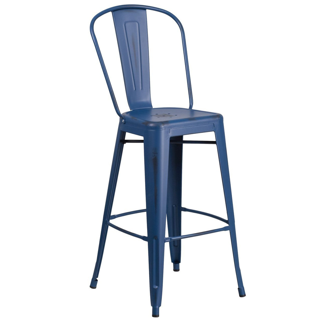 30'' High Distressed Antique Blue Metal Indoor-Outdoor Barstool with Back