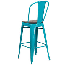 "Load image into Gallery viewer, 30"" High Crystal Teal-Blue Metal Barstool with Back and Wood Seat"
