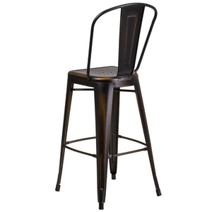 30'' High Distressed Copper Metal Indoor-Outdoor Barstool with Back