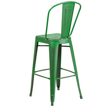 Load image into Gallery viewer, 30'' High Distressed Green Metal Indoor-Outdoor Barstool with Back