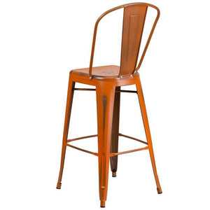 30'' High Distressed Orange Metal Indoor-Outdoor Barstool with Back