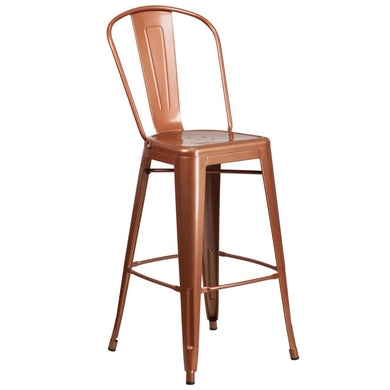 30'' High Copper Metal Indoor-Outdoor Barstool with Back