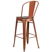 "Load image into Gallery viewer, 30"" High Copper Metal Barstool with Back and Wood Seat"
