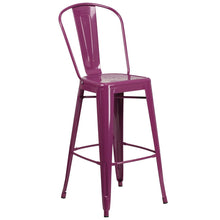 Load image into Gallery viewer, 30'' High Purple Metal Indoor-Outdoor Barstool with Back