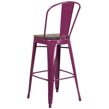 "Load image into Gallery viewer, 30"" High Purple Metal Barstool with Back and Wood Seat"