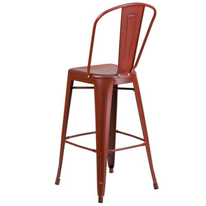 30'' High Distressed Kelly Red Metal Indoor-Outdoor Barstool with Back