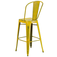 Load image into Gallery viewer, 30'' High Distressed Yellow Metal Indoor-Outdoor Barstool with Back