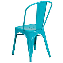 Load image into Gallery viewer, Crystal Teal-Blue Metal Indoor-Outdoor Stackable Chair