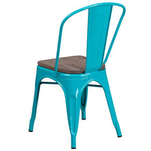 Load image into Gallery viewer, Crystal Teal-Blue Metal Stackable Chair with Wood Seat