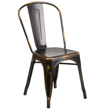 Load image into Gallery viewer, Distressed Copper Metal Indoor-Outdoor Stackable Chair