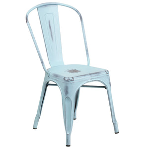 Distressed Green-Blue Metal Indoor-Outdoor Stackable Chair