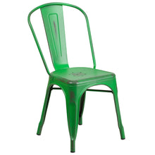 Load image into Gallery viewer, Distressed Green Metal Indoor-Outdoor Stackable Chair