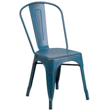 Load image into Gallery viewer, Distressed Kelly Blue-Teal Metal Indoor-Outdoor Stackable Chair