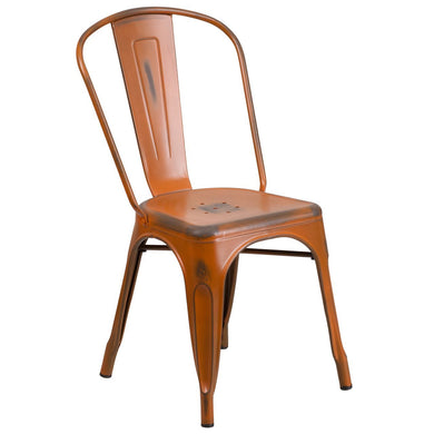 Distressed Orange Metal Indoor-Outdoor Stackable Chair