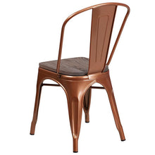 Load image into Gallery viewer, Copper Metal Stackable Chair with Wood Seat